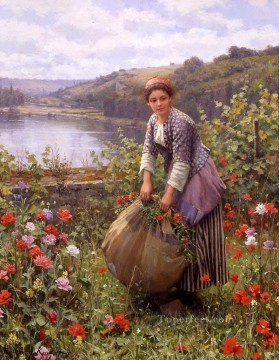 The grass cutter countrywoman Daniel Ridgway Knight Impressionism Flowers Oil Paintings
